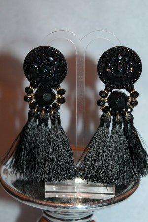 Boucle d'oreille incrustée de pierres noir