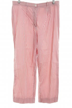 ae elegance Pantalon 3/4 blanc-rouge motif à carreaux style décontracté