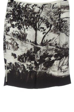 ae elegance Jupe mi-longue gris clair-noir imprimé avec thème
