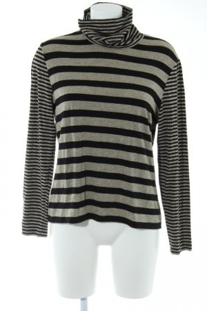 ae elegance Turtleneck Sweater black-gold-colored striped pattern casual look