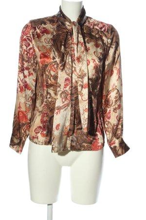 ae elegance Schluppen-Bluse braun-rot Blumenmuster Elegant