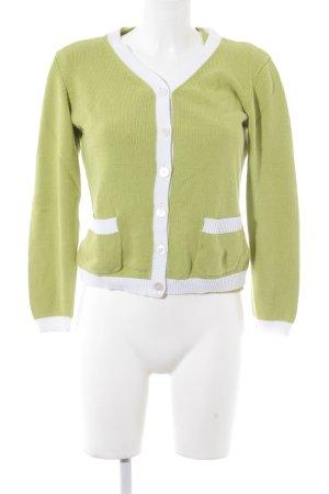 ae elegance Twin set in maglia verde prato-bianco stile casual