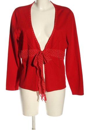 ae elegance Strickjacke rot-weiß Punktemuster Casual-Look