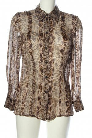 ae elegance Transparenz-Bluse braun-creme Animalmuster Casual-Look