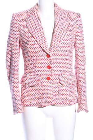 ae elegance Tweed Blazer red-white allover print business style