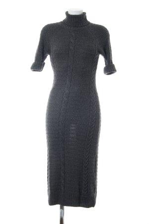 ae elegance Wollen jurk lichtgrijs kabel steek casual uitstraling