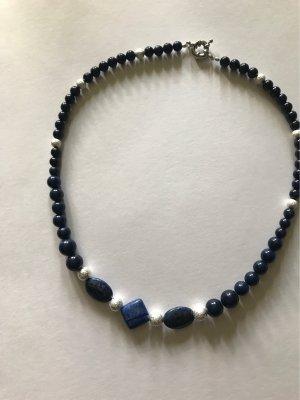 Ägyptische , natürliche  Lapislazuli  Perlen  & diamantisierte Silberperlen