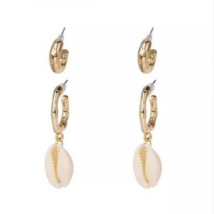 AELAN | Stunning asyymetrical sea shell earrings hangers beach ocean natural conch gold | Coole Sommer Muschel Statement Ohrringe Ohrhänger  size big pair = 4,5 cm x 2 cm diameter small pair = 2 cm