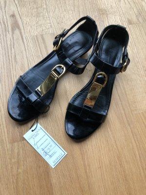 Aerin schwarze Lackleder Sandale Gold