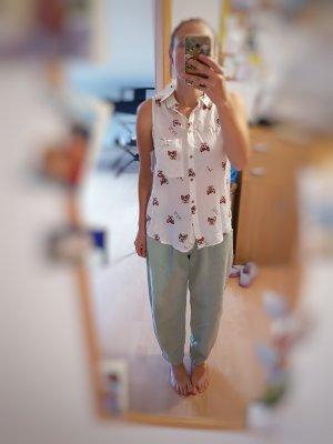 ärmellise Bluse/top/shirt mit Hunden Stradivarius gr S