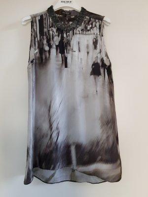Ärmellose Bluse bedruckt mit Paillettenkragen Gr.36 von Hauber
