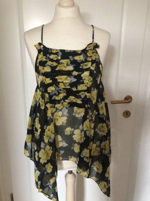 Ärmellose Bluse Blumenprint schwarz/gelb