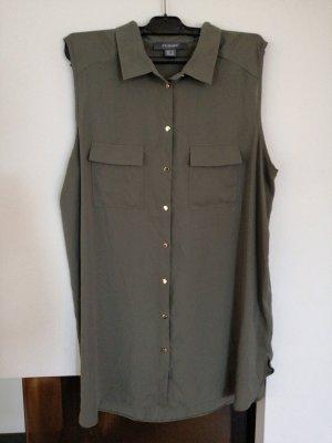 Ärmellose Bluse in Olivgrün