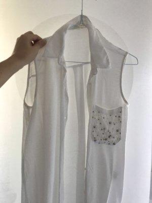 Ärmellose Bluse mit Perlenbesatz