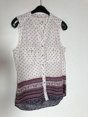 Ärmellose Bluse mit weiß/pink/Lila Muster