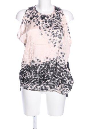 Manila Grace ärmellose Bluse schwarz-creme abstraktes Muster Casual-Look