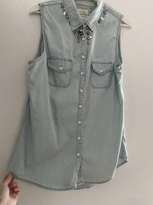 Basefield Mouwloze blouse leigrijs