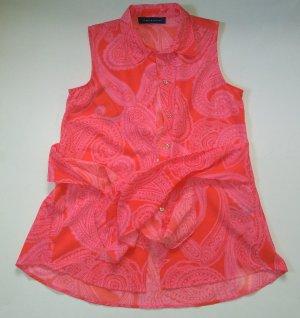Ärmellose Bluse von Tommy Hilfiger Paisley hellrot pink neu Gr L