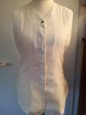 Ärmellose Bluse weißes Leinen