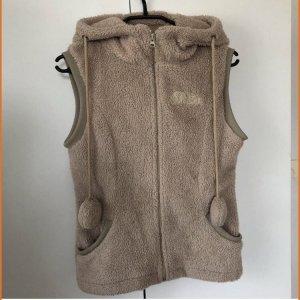 Ärmellose Jacke mit Bärenohren Madonna Größe XS beige