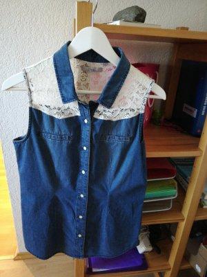 17&co Mouwloze blouse wit-staalblauw Katoen