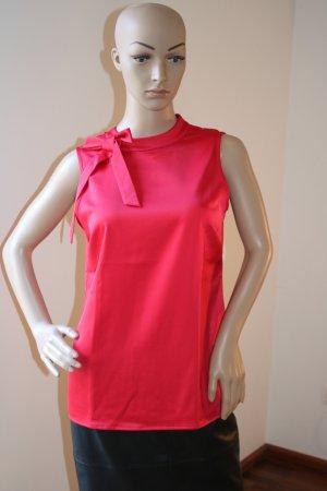 Ärmellose rote Bluse mit abnehmbarer Schleife von Comma Gr. 34