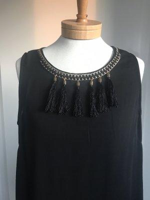 Ärmellose schwarze Bluse * mit Kettendetail am Ausschnitt * Größe L * 38/40