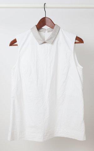 Ärmellose weiße Schlupf-Bluse