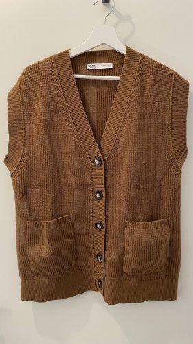 Zara Sweter bez rękawów z cienkiej dzianiny brąz-brązowy