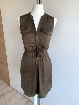 Ärmelloses Blusenkleid khaki oliv einfarbig Casual Basic Sommer V-Neck
