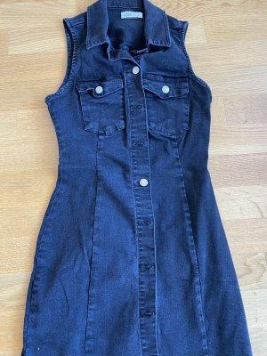 Ärmelloses Kleid aus schwarzem Jeansstoff