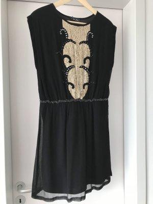 Ärmelloses, schwarzes Kleid mit golden Pailletten, Größe 40