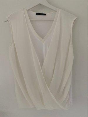 Esprit Koszulka z dekoltem woda w kolorze białej wełny-kremowy