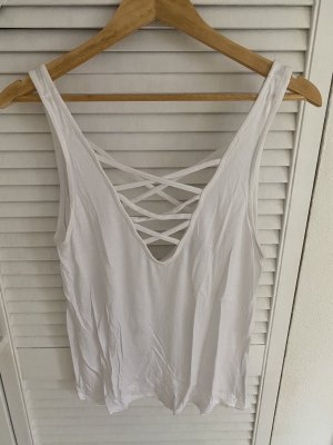 H&M Top cut out blanco