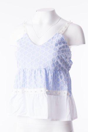 Ärmelloses Top mit Perlenbesatz Blau-Weiß One Size NEU