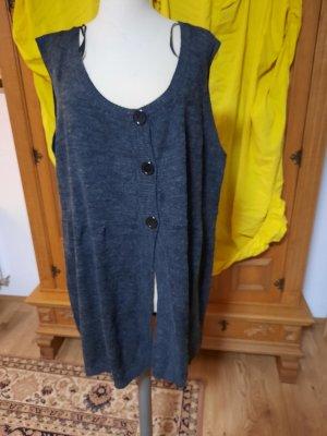Queen-Size Gilet long tricoté gris foncé
