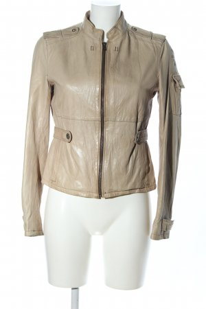 Aeronautica Militare Leather Jacket cream casual look