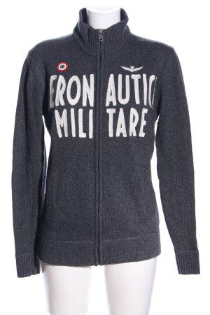 Aeronautica Militare Veste en tricot gris clair moucheté style décontracté