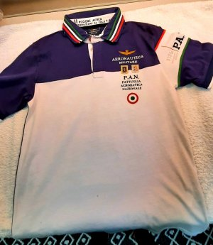 Aeronautica Militare Polo shirt wit-blauw Lycra