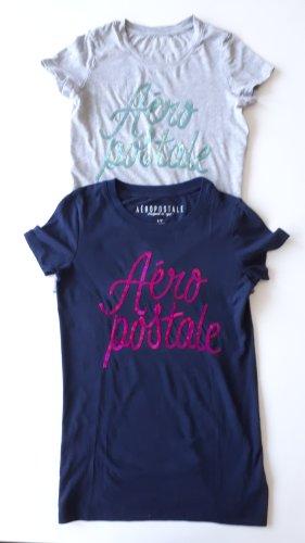 Aeropostale T-shirt lichtgrijs-donkerblauw