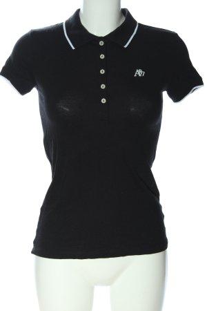 Aeropostale Camiseta tipo polo negro-blanco look casual