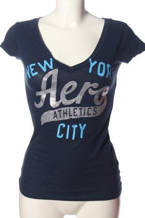 Aeropostale Camiseta estampada azul letras impresas look casual