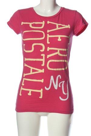 Aeropostale Camicia fantasia rosa caratteri stampati stile casual