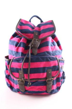Aeropostale Schulrucksack blau-pink Streifenmuster Casual-Look