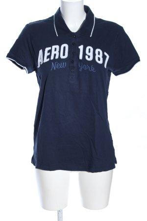 Aeropostale T-Shirt blau-weiß Schriftzug gedruckt Casual-Look