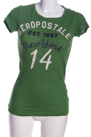 Aeropostale Camiseta verde letras impresas look casual