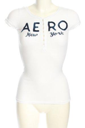 Aeropostale T-Shirt weiß-blau Schriftzug gedruckt Casual-Look