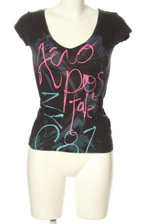 Aeropostale V-Ausschnitt-Shirt schwarz Motivdruck Casual-Look