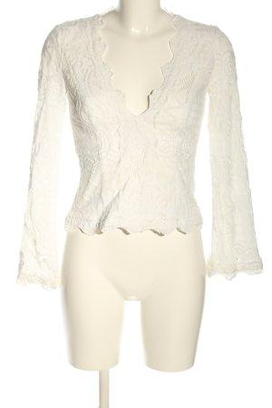 AÉRYNE V-Neck Shirt white allover print elegant