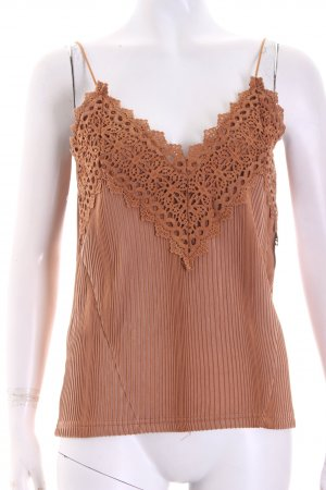 Aéryne x NA-KD Spaghetti Strap Top cognac-coloured Lace trimming